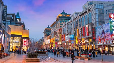 Beijing, China - Jan 9 2020: Wangfujing is a shopping street in Dongcheng District since the middle of the Ming Dynasty, it's also one of traditional downtown areas of Beijing, along with Liulichang