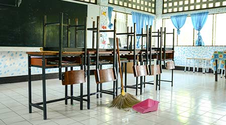Class cleaning with broom