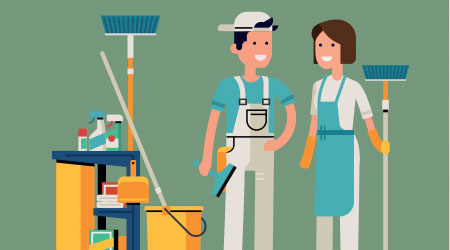 a vector image of janitors, one male and one female