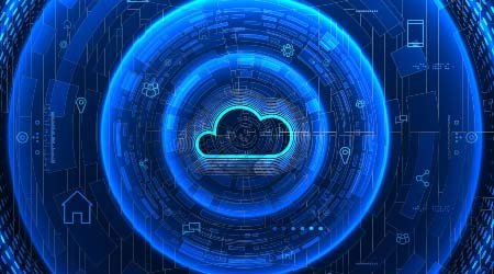 Internet infrastructure concept. Cloud software solution. Abstract technology background. Digital data access.