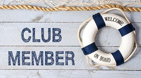 welcome aboard to a new club member signified with a lifesaver tied to a rope