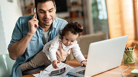 young father working from home