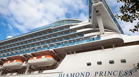 Australia, Sydney- January 9, 2018: A luxury liner Diamond Princess (115,875 tons) is moored at a pier in Yokohama, Japan. Diamond Princess is a cruise ship owned and operated by Princess Cruises.