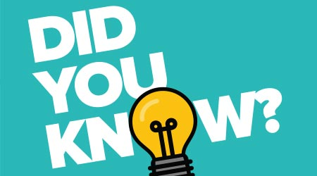 """Did you know?"" written in white text on a turquoise background with a lightbulb replacing the ""o"""