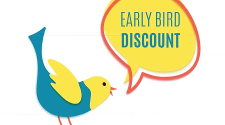 Early bird discount banner in paper cut style. Yellow speech bubble with red frame.