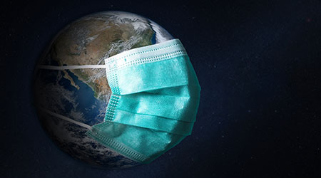Planet Earth with face mask protect. World medical concept. Elements of this image furnished by NASA.