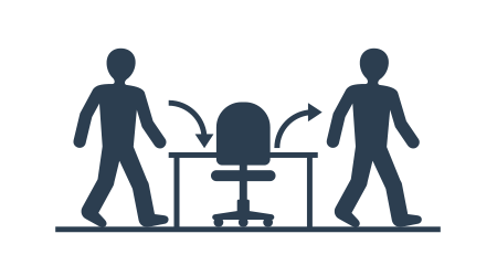 Employee turnover in human resources - act of replacing a worker with a new worker that measured as a percentage rate - two people icons (working staff) and office chair