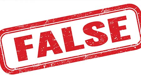 """A big red stamp that reads """"FALSE"""""""