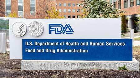 Washington, D.C., USA- January13, 2020: FDA Sign outside their headquarters in Washington. The Food and Drug Administration (FDA or USFDA) is a federal agency of the USA.