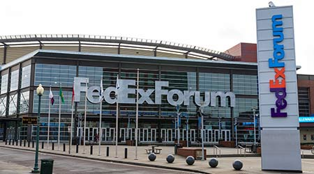 Memphis, TN / USA - December 28, 2109: FedEx Forum in Downtown Memphis, TN. Home to the NBA Memphis Grizzlies, University of Memphis basketball and Numerous other events and concerts.