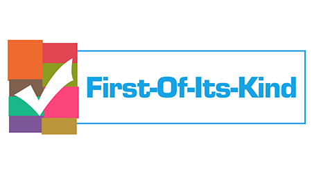 First Of Its Kind text written over blue colorful background.