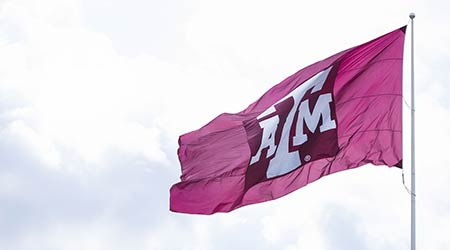 Flag with Texas A&M University logo waving against sky.