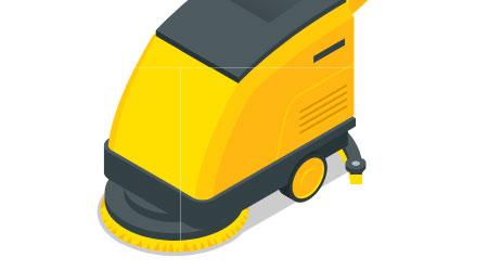 vector image of a floor scrubber