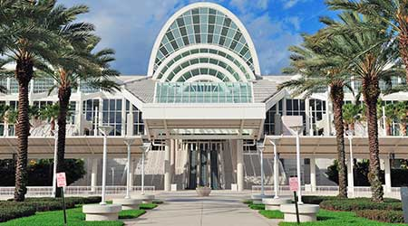 The Orange County Convention Center on International Drive on February 6, 2012 in Orlando. It offers 7M sq ft space and ranks as the second largest convention center in the US.