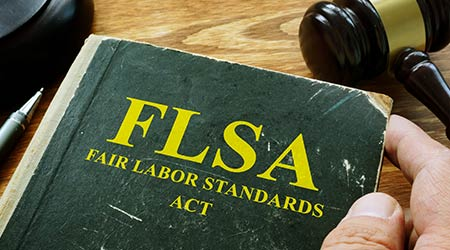 "Man holds book that reads :FLSA - Fair labor standards act"""