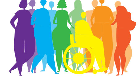 Silhouettes of people, men, women, disabled people in a wheelchair as an end to the inclusiveness of the lgbtq community, pride, rainbow colors.