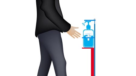 Hands Free Sanitizer Stand, a man showing how to use this equipment without touching hand sanitizer, touchless equipment concept,Vector illustration