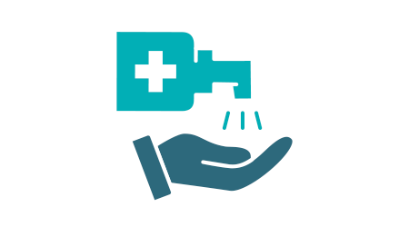 Cleaning hands with disinfectant colored icon. Hygiene, disinfection product symbol