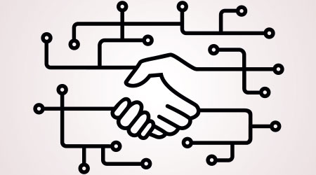 Handshake, circuit board. Digital business linear icon. Thin line illustration. Online partnership and business deal. Contour symbol. Vector isolated outline drawing