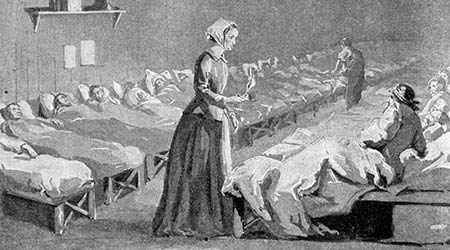 A black and white sketch of legendary Nurse Florence Nightingale