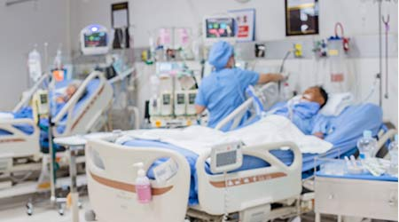 Blurred of nursing care for help patient in ICU at the hospital.