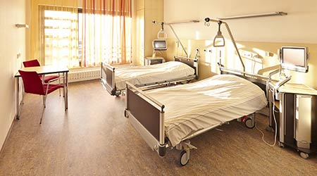 Hospital room with two beds in the hospital