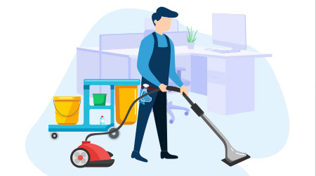 Janitor Illustration doing his job as Cleaning Service. This illustration can be use for website, landing page, web, app, and banner.