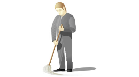Sad janitor holding a mop and cleaning the floor.