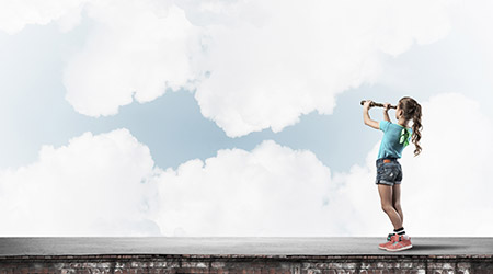 girl standing on house roof and looking in spyglass