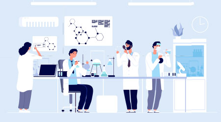 Scientists in lab. People in white coat, chemical researchers with laboratory equipment. Drug development cartoon vector concept. Illustration of scientist in laboratory, science experiment in lab  M