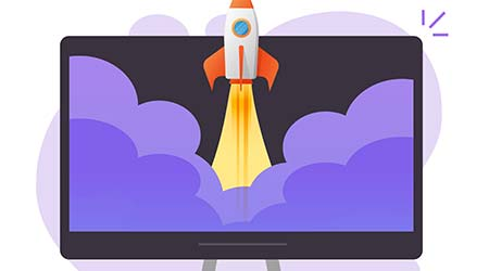 Startup launch online on computer pc concept flat cartoon illustration, new innovation project development idea, monitor screen rocket ship flying high fast speed isolated icon modern image