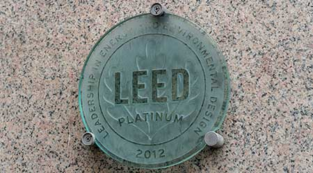 Rome, Italy - October 31, 2018: Leed plate. Leadership in Energy and Environmental Design is one of the most popular green building certification programs used worldwide