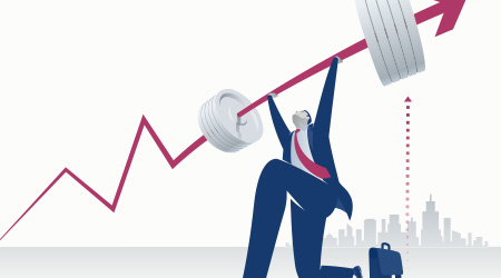Power. Businessman pushing upwards a business chart looking like a heavy barbell