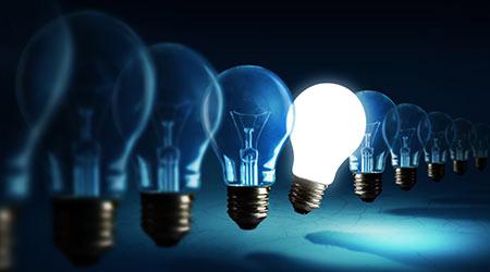 Lightbulbs on blue background, idea