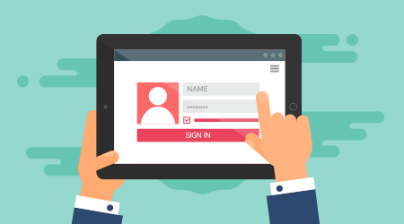 Web Template and Elements for site form of login to account on tablet.
