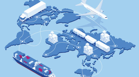 Global logistics network isometric illustration Icons set of air cargo trucking rail transportation maritime shipping On-time delivery Vehicles designed to carry large numbers of cargo