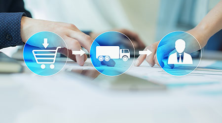 Logistics and transportation concept on virtual screen. Internet purchase delivery.