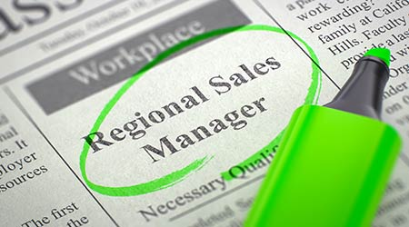 Regional Sales Manager. Newspaper with the Small Advertising, Circled with a Green Marker. Blurred Image with Selective focus. Job Seeking Concept. 3D Rendering.