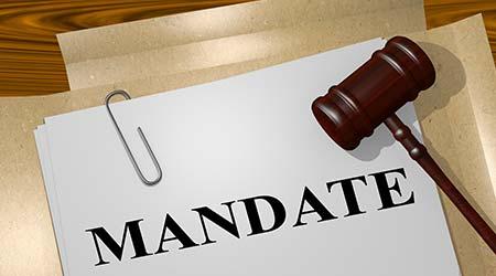 "3D illustration of ""MANDATE"" title on legal document"