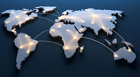 business growth demonstrated through world map