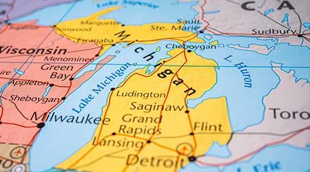 Michigan state on the USA map
