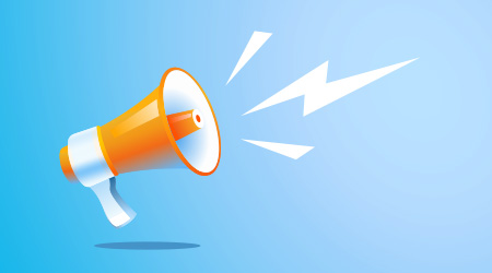 megaphone vector Illustration on blue banner background, concept of join us, job vacancy and announcement in modern flat cartoon style design