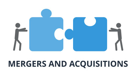 Mergers and Acquisitions vector. Management and business concept. Flat design on white background.