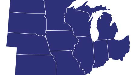 High Quality map of Midwest region of United States of America with borders of the states