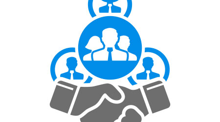 Handshake business partners group network icon vector. Collective bargaining agreement symbol. Parnership Trust Collaboration Sign.