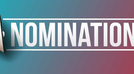 """Megaphone with word """"Nominations"""" Banner"""