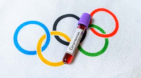 TOKYO, JAPAN, MARCH. 11. 2020: the cancellation of the summer Olympic Game due Coronavirus and illness Covid 19. Positive blood test