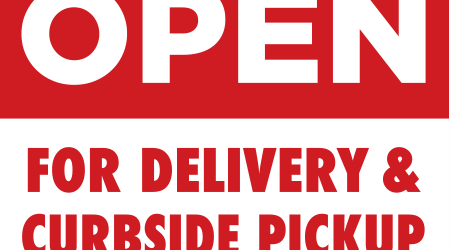 Restaurant Open for Delivery & Curbside Pickup Sign | Food & Drink Takeout Signage | Print Ready Vector Layout
