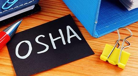 Business photo shows hand written text OSHA