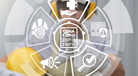 Occupational Safety and Health Administration. OSHA checklist documents. Industry employee working on virtual touchscreen selects osha document icon.